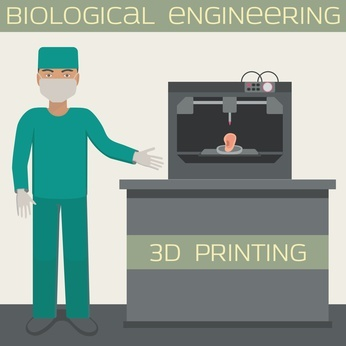 3D printing for producing a cellular construct, biological engineering, printing ear.