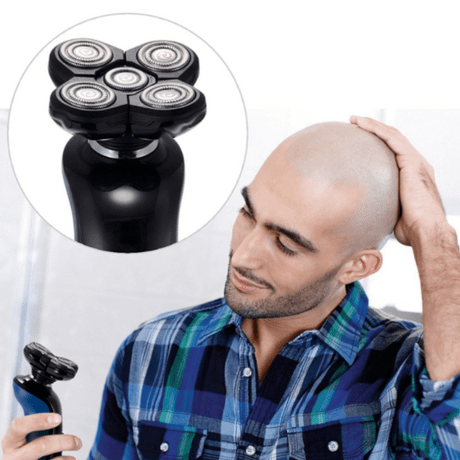 the best shavers for balding men, bald man with rotary shaver