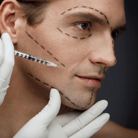 man getting cosmetic treatment