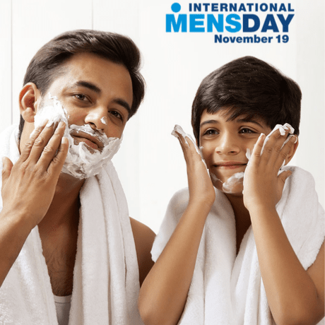 father and son with international men's day logo