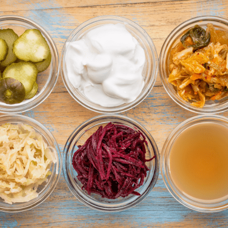 photo of cabbage, pickles, kimchi, apple cider vinegar and sauerkraut